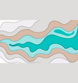 paper art cartoon abstract waves in realistic vector image vector image