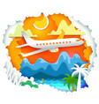 paper art with sun and aircraft vector image vector image