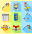 plumbing house icons set flat style vector image