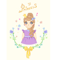 Princess girl in floral frame with crown vector image vector image