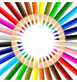 rainbow colored pencils arrayed in a circle vector image vector image