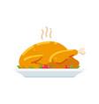 roast turkey or chicken on plate vector image vector image