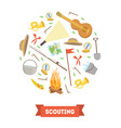 scouting banner template with camping and hiking vector image vector image