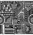 Seamless ethnic doodle black and white background vector image