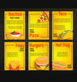 set fast food shop menu pages vector image vector image
