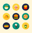 set food and drink flat design icon with long vector image vector image