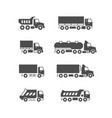 set glyph icons trucks vector image