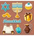 Set of Jewish Hanukkah celebration sticker objects vector image vector image