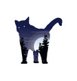 silhouette of a cat with inside the tree landscape vector image vector image