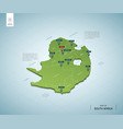 stylized map south africa isometric 3d green vector image