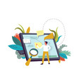 tablet with memos person and magnifying glass vector image vector image
