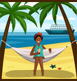 tanned girl on hammock with cocktail vector image