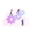 team work cooperation in gears mechanism vector image