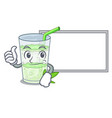 thumbs up with board fresh lassi bhang in glas vector image