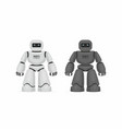 two robots white and black vector image vector image