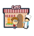 Vintage cartoon cafe vector image