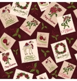 Vintage Christmas Stamps Seamless Pattern vector image