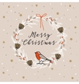 Vintage Merry Christmas Happy New Year greeting vector image