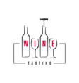 wine bottle with wine glass logo on white vector image vector image