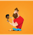 young afro-american father with his little vector image vector image