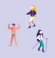 young men practicing sports isolated icon vector image
