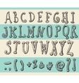 Alphabet Original Doodle Engraved Hand Drawn vector image