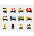 Conveyor units and machines flat icons vector image