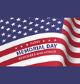 happy memorial day with flag of the united states vector image