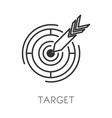 arrow and target isolated outline icon goal vector image