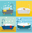 bathtub foam shower banner concept set flat style vector image vector image