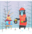 bear and rabbit in forest tea drinking vector image vector image