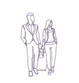 business man and woman walking with suitcase vector image