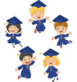 cartoon little kids celebrate their graduation on vector image vector image