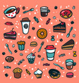 coffee background colorful doodle style cartoon vector image vector image