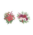 collection gorgeous bouquets or bunches red vector image