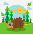 cute hedgehog in forest vector image vector image
