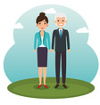 diversity couple standing design vector image