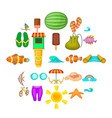 easy life icons set cartoon style vector image