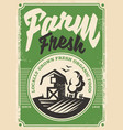 farm fresh products retro poster vector image vector image