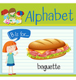 Flashcard letter B is for baguette vector image vector image