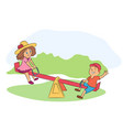 little boy and girl on seesaw vector image vector image