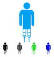man crutches flat icon vector image