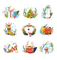 merry christmas presents and elf with santa claus vector image