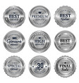 metallic silver seal badges labels vector image vector image