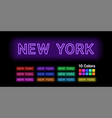 neon name of new york city vector image