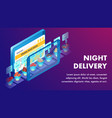 night delivery service isometric banner template vector image vector image