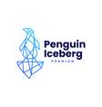 penguin ice berg geometric polygonal logo icon vector image vector image