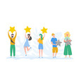 people characters holding gold stars rate services vector image