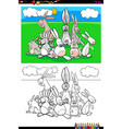 rabbits animal characters group coloring book vector image vector image