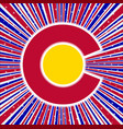 red white and blue rays with colorado icon vector image vector image